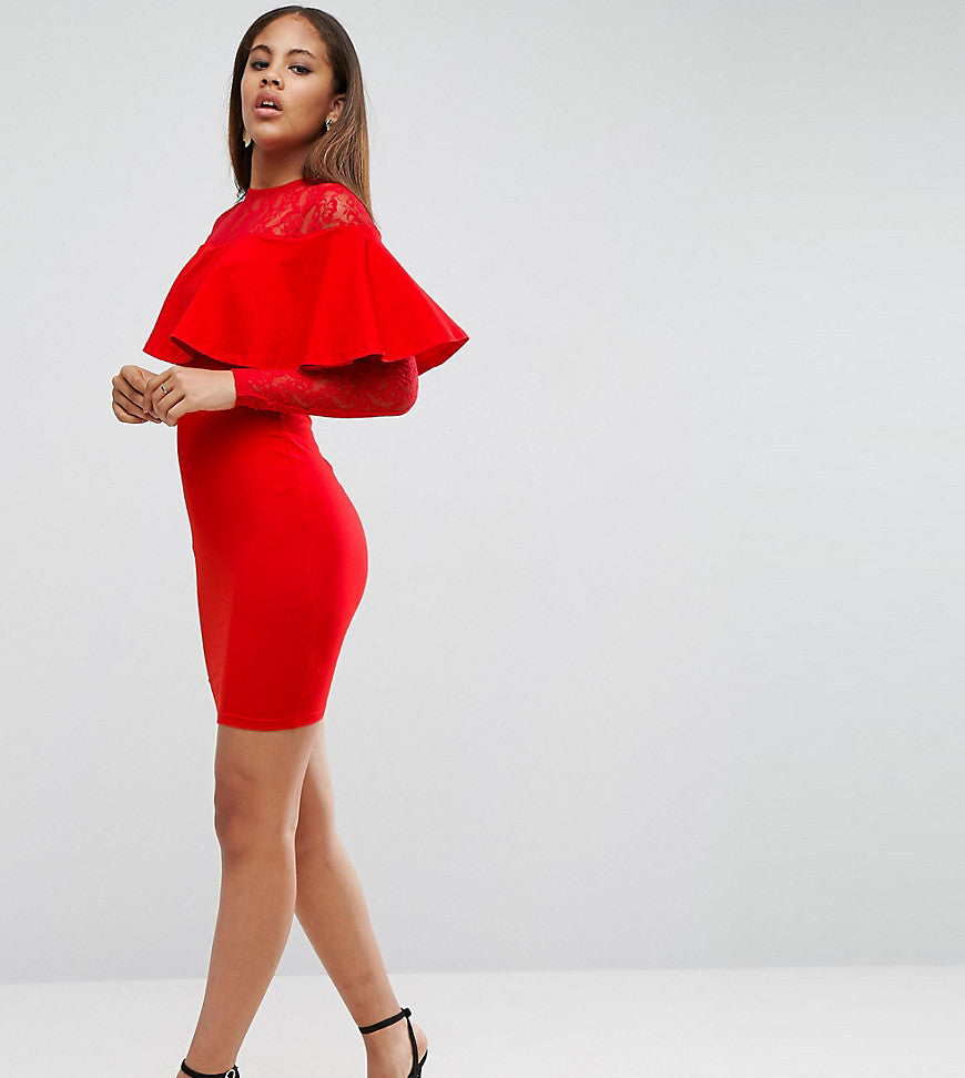 ASOS TALL Ruffle Front Lace Mix Bodycon Mini Dress - Red