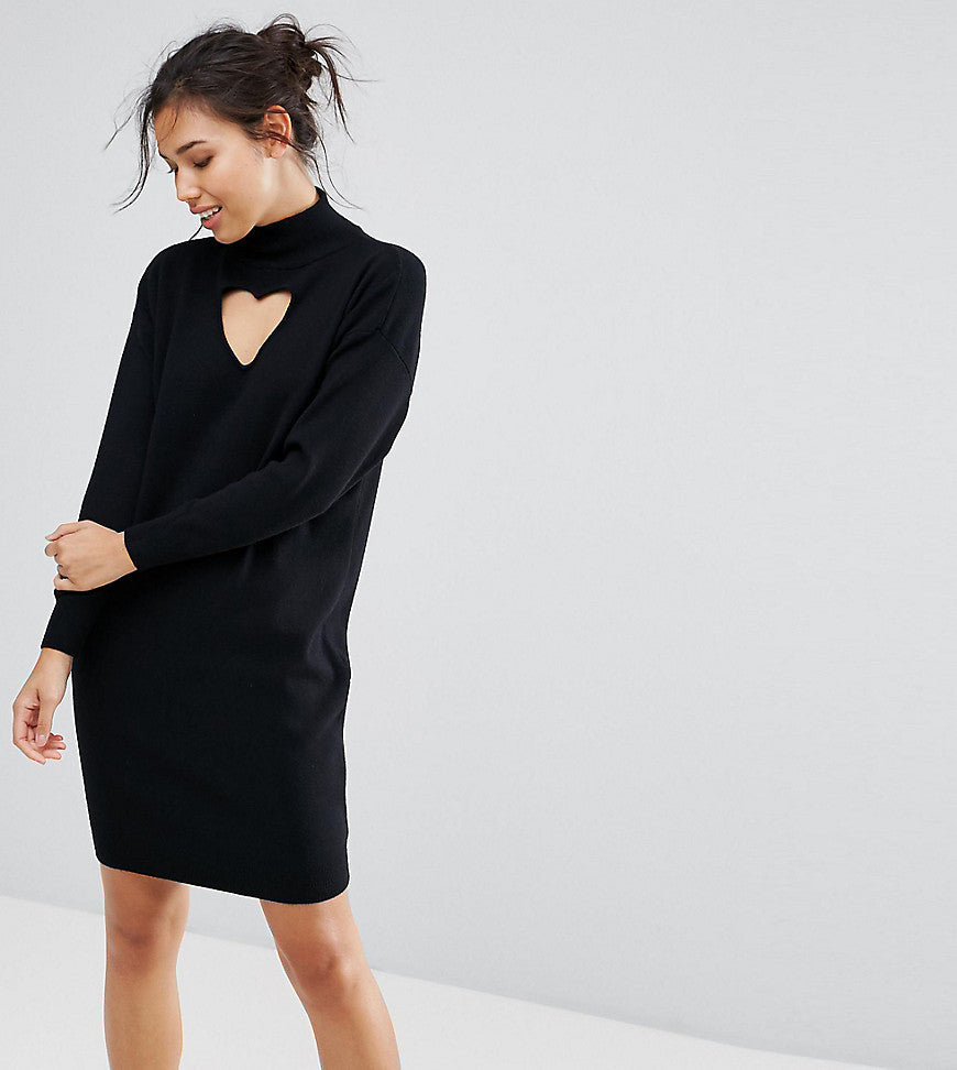 Warehouse Heart Cut Out Dress - Black