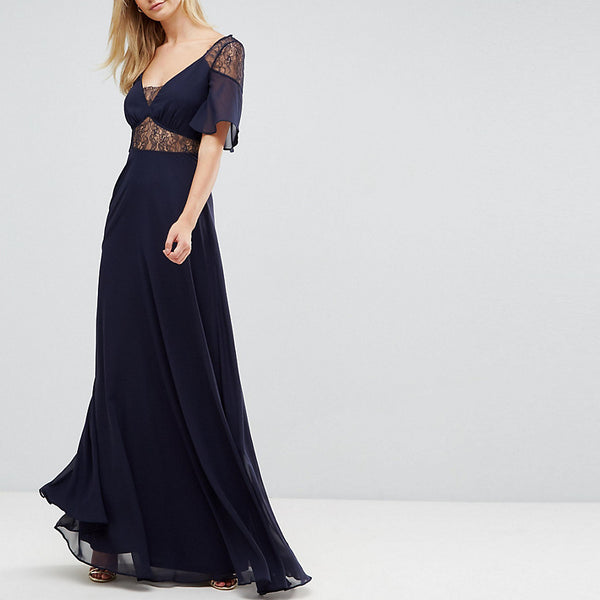 ASOS Tall Lace Insert Flutter Sleeve Maxi Dress - Navy