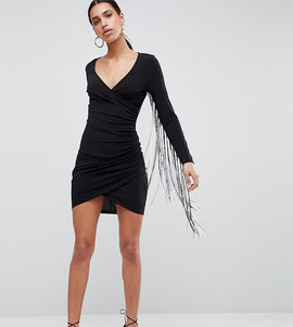 Flounce London Plunge Front Mini Dress with Dip Dye Tassels - Black/ white