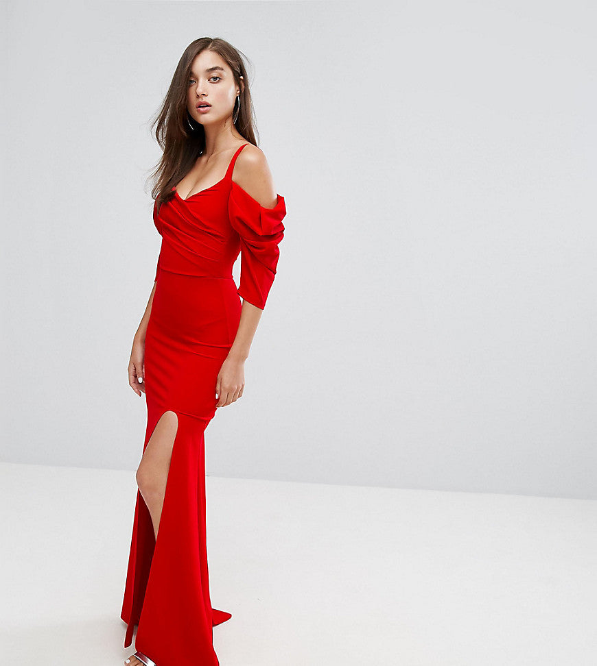 TFNC Fishtail Maxi Dress With 80'S Off Shoulder - Red