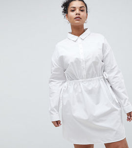 ASOS CURVE Cotton Shirt Dress with Ruching - White