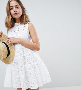 ASOS PETITE ULTIMATE Sleeveless Broderie Trapeze Dress - White
