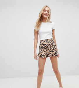 Daisy Street High Waist Shorts With Ruffle Hem In Leopard - Leopard