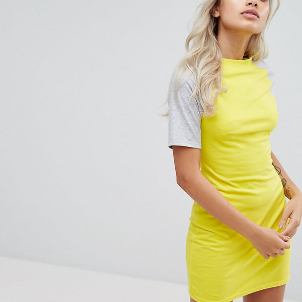 Daisy Street Petite Mini Dress With Contrast Sleeves - Yellow/grey