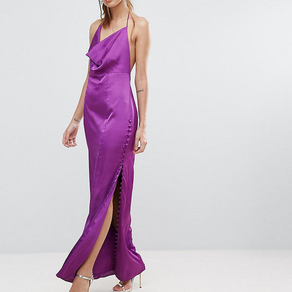 Fame and Partners Straight Gown with Button Detailing - Deep purple