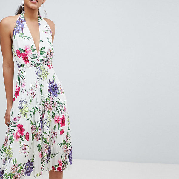 John Zack Tall Allover Printed Halterneck Midi Dress - Floral multi