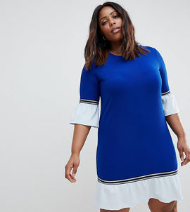 Junarose Sporty Shift Dress With Frill - Blue