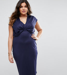ASOS CURVE Crepe Fold Front T-Shirt Midi Dress - Navy