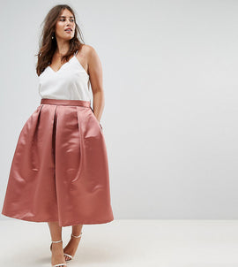 Closet London Plus Full Prom Sateen Midi Skirt - Rust