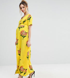 ASOS Maternity Maxi Tea Dress with Open Back in Floral Print - Yellow base