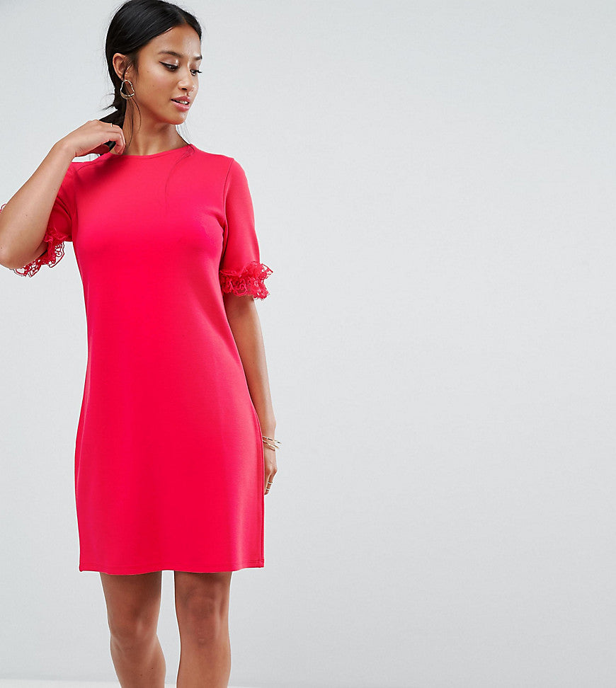 ASOS PETITE T-Shirt Dress In Ponte With Lace Frill Sleeve - Raspberry