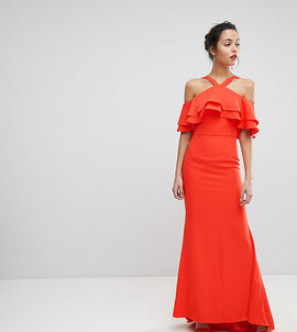 Jarlo Oversized Ruffle Front Maxi Dress - Tomato orange