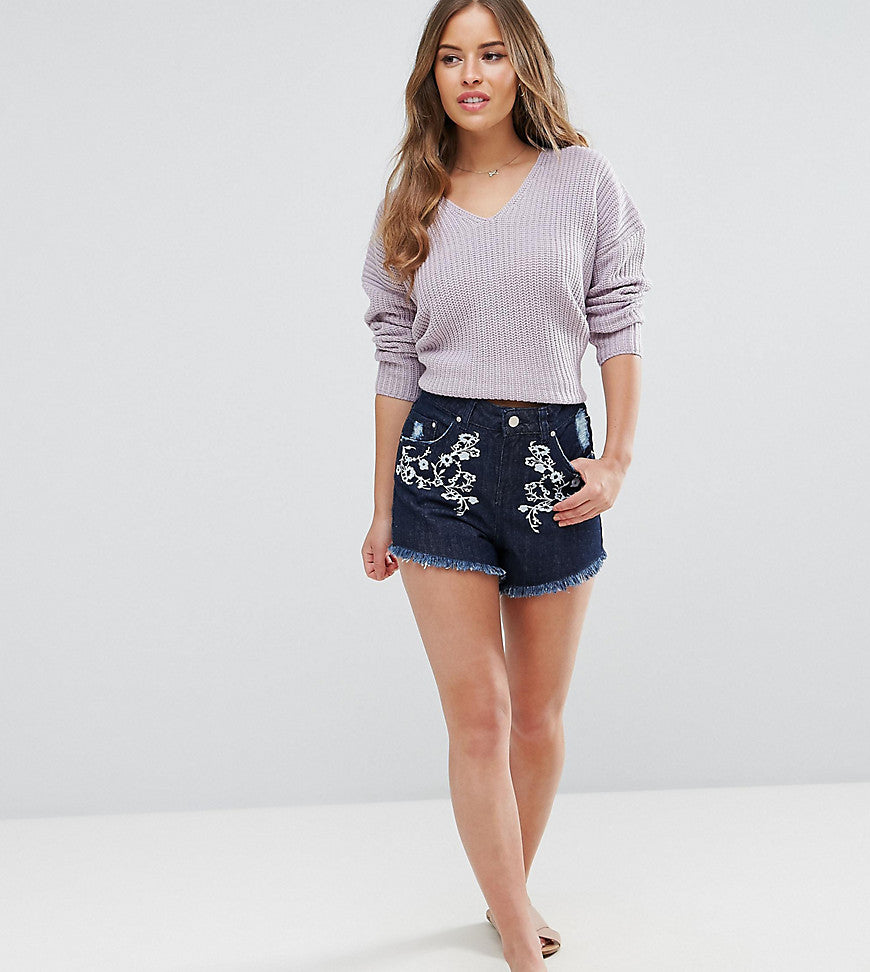 Miss Selfridge Petite Floral Embroidered Frayed Denim Shorts - Blue