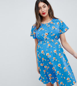 New Look Maternity Floral Dress - Blue pattern
