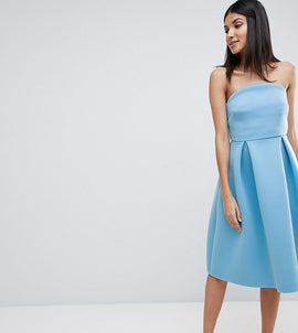 ASOS DESIGN Tall bandeau crop top prom midi dress - Blue