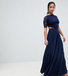 John Zack Petite Lace Open Back Maxi Dress - Navy
