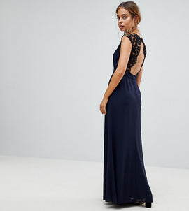 Elise Ryan Petite Maxi Dress With Cut Out Lace Back - Navy