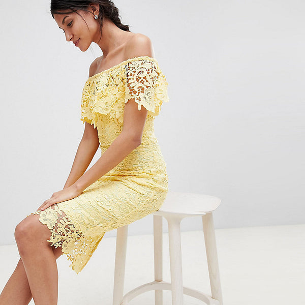Paper Dolls Tall Bardot Lace Pencil Dress With Frill Detail - Yellow