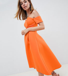 ASOS DESIGN Petite bardot pleated waist scuba midi prom dress - Orange