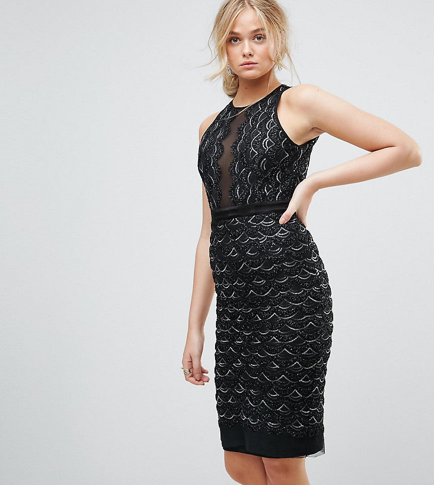 TFNC Tall High Neck Mini Scallop Sequin Dress - Black
