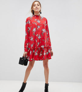 ASOS DESIGN Tall smock mini dress with pep hem in red floral - Multi