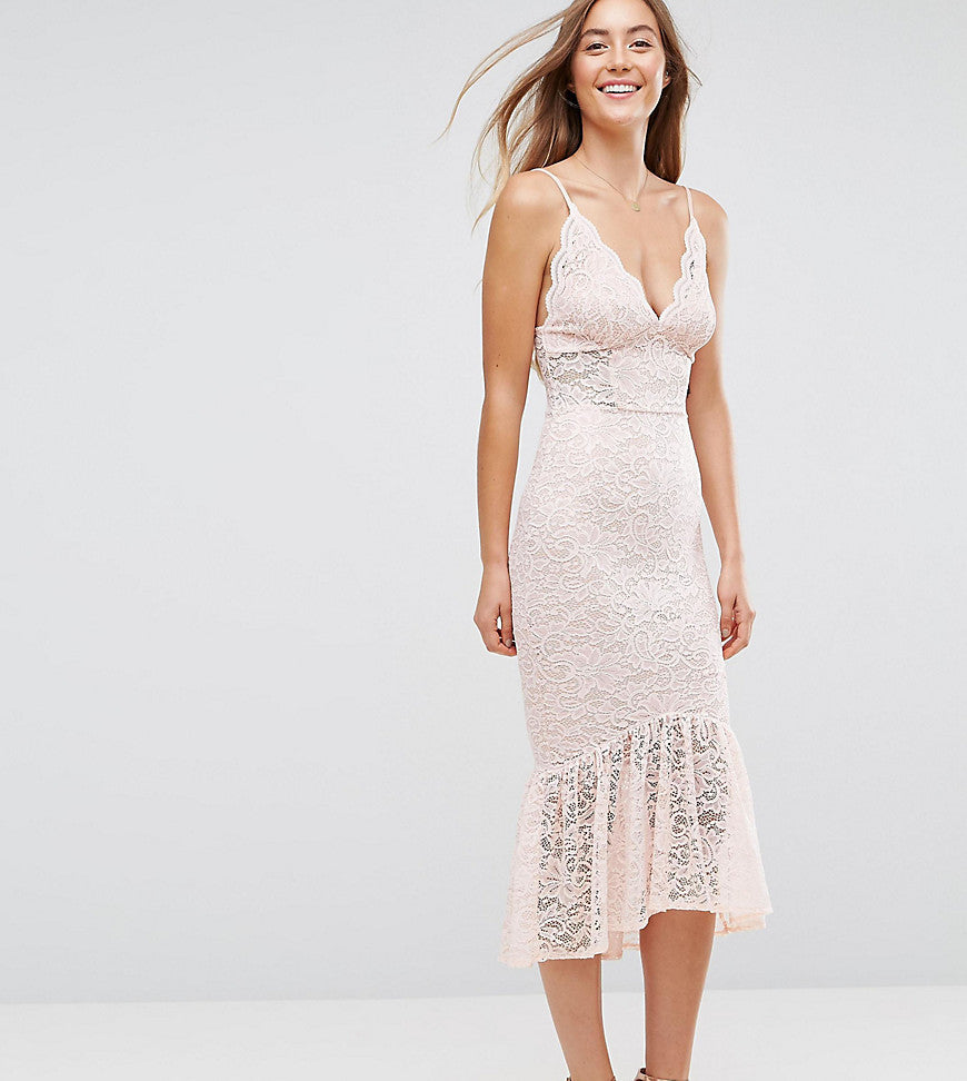 ASOS TALL Lace Plunge Pephem Midi Dress - Nude
