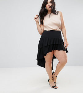 John Zack Plus Ruffle Skirt With High Low Hem - Black