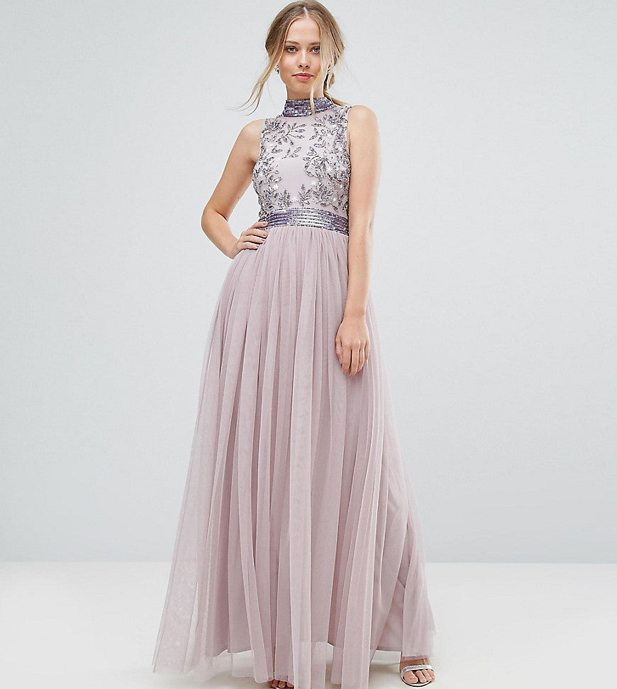 663e73a0 Lovedrobe Luxe Cap Sleeve Floral Embellished Dress With Tulle Midi Skirt