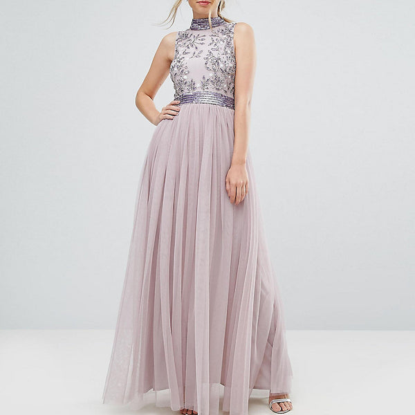 Amelia Rose Embellished Maxi Dress with Tulle Skirt - Iris