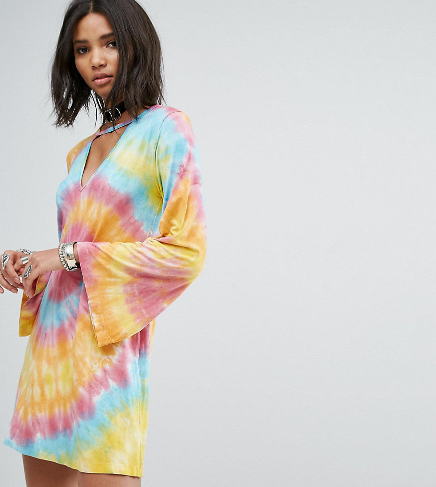 Rokoko Swing Dress With Wide Sleeves And Choker Neck In Tie-Dye - Rainbow tye dye