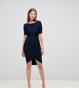 Closet London tie front dress with kimono sleeve in navy - Navy