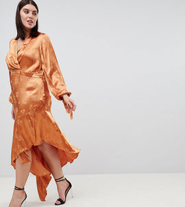 ASOS DESIGN Curve soft floral jacquard midi dress with asymmetric hem - Rust