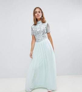 Frock And Frill Petite Premium Embellished Top Maxi Dress - Duckegg