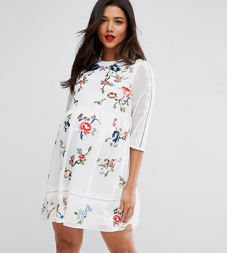 ASOS Maternity PREMIUM Midi Skater Dress with Floral Embroidery - White
