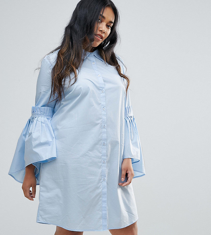 Unique 21 Hero Plus Shirt Dress With Gathered Ruffle Sleeves - Baby blue