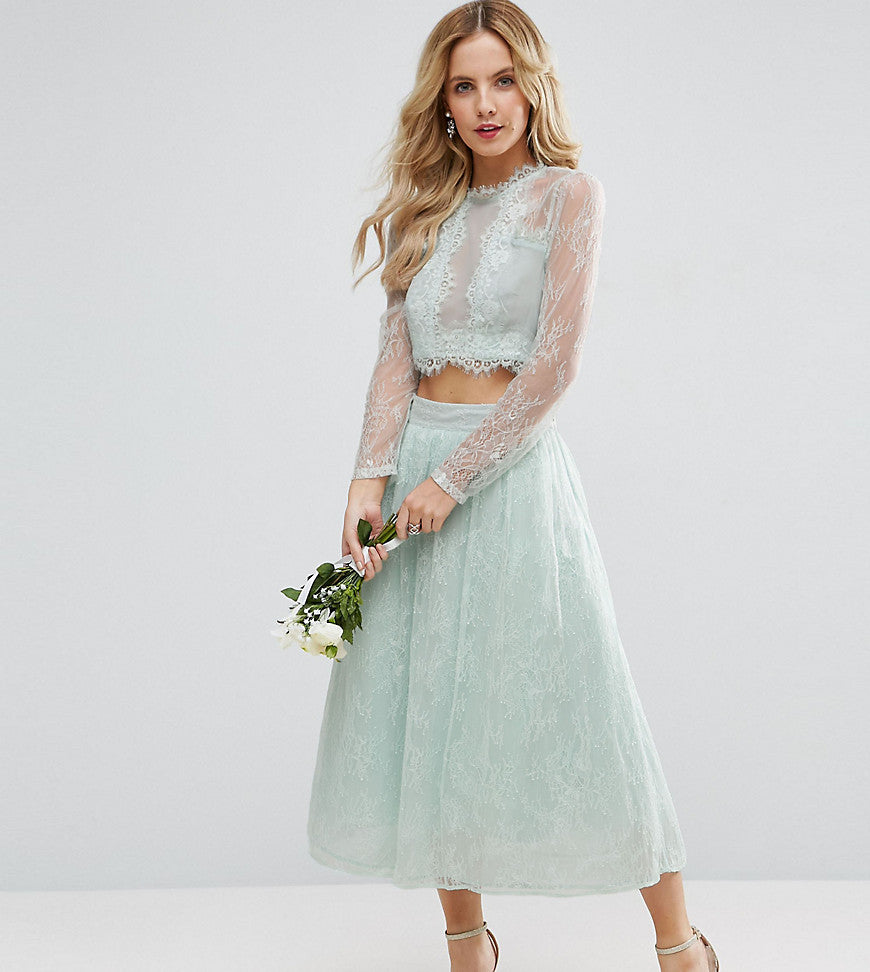 ASOS PETITE Bridesmaid Lace Prom Skirt - Mint
