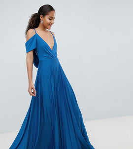 ASOS DESIGN Tall cold shoulder cowl back pleated maxi dress - Blue