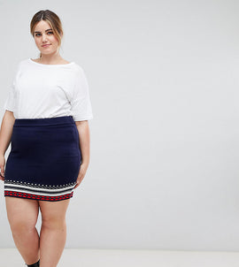 ASOS CURVE Christmas Co-ord Skirt in Fairisle - Multi