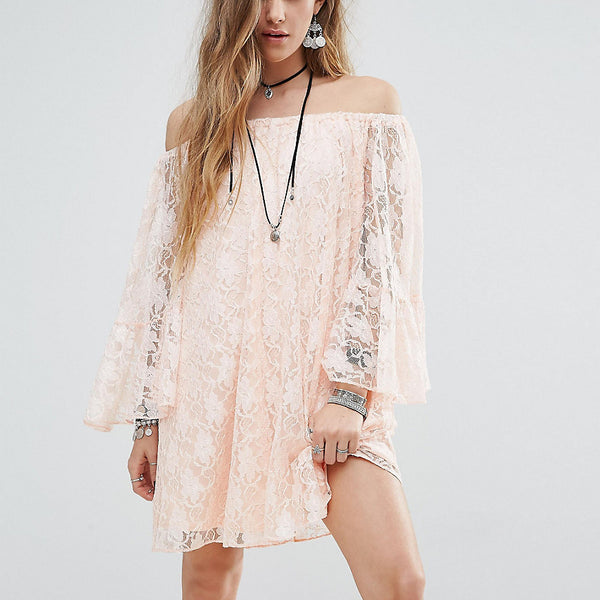 Reclaimed Vintage Inspired Off The Shoulder Swing Dress In Lace - Coral
