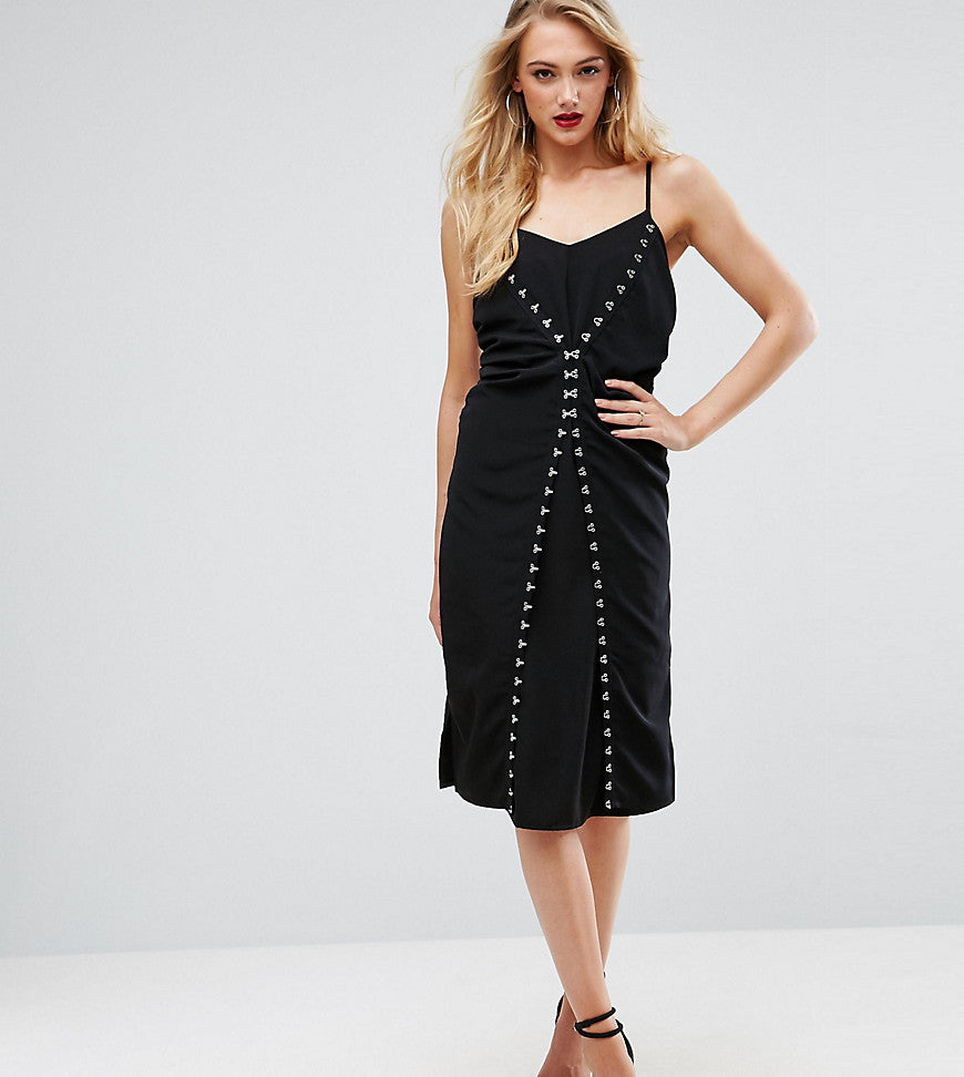 ASOS TALL Hook & Eye Detail Slip Midi Dress - Black