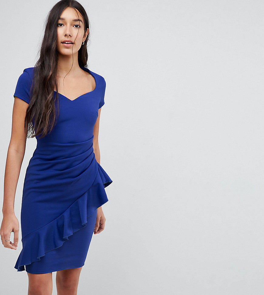 City Goddess Tall Pencil Midi Dress With Ruffle Detail - Royal blue
