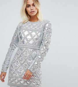 A Star Is Born Embellished Mini Dress With Metallic Quilted Detail - Silver