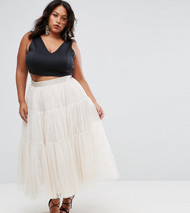 ASOS CURVE Tiered Tulle Prom Skirt with High Waisted Detail - Nude