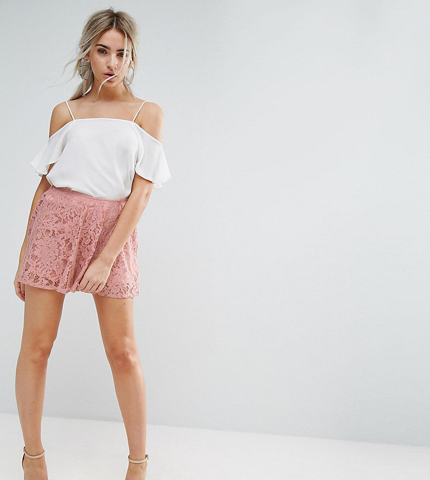 Missguided Petite Floaty Lace Shorts - Pink