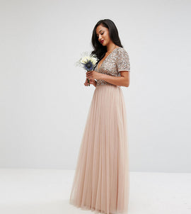 Maya Petite V Neck Maxi Tulle Dress with Tonal Delicate Sequins - Taupe