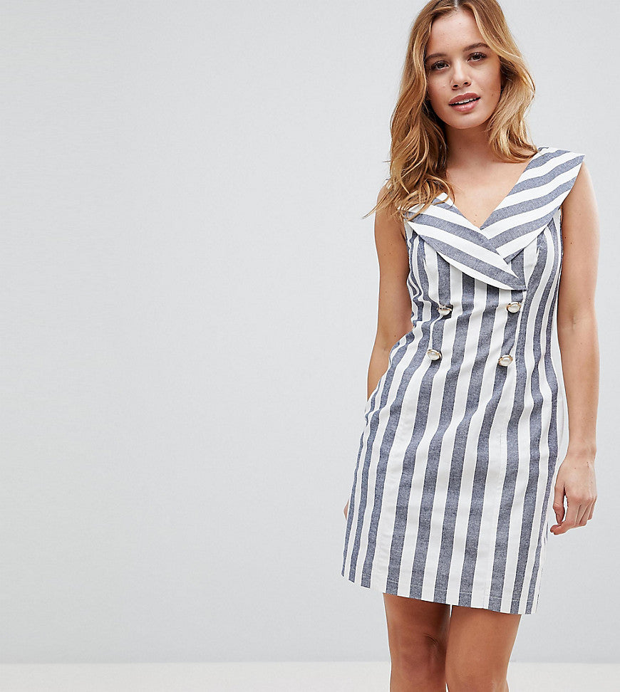 ASOS PETITE Stripe Mini Tux Dress - Multi