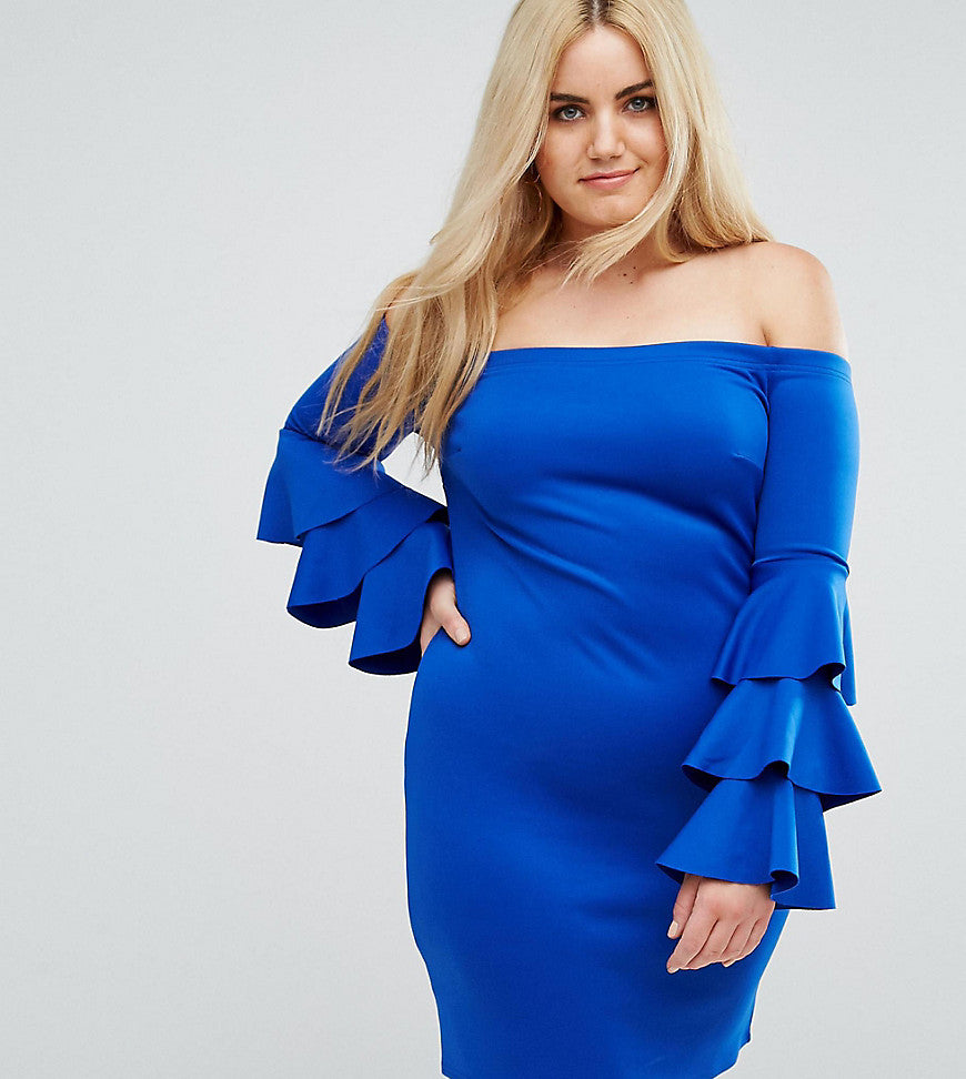 Club L Plus Bardot Mini Dress With Exaggerated Layered Sleeve Detail - Blue