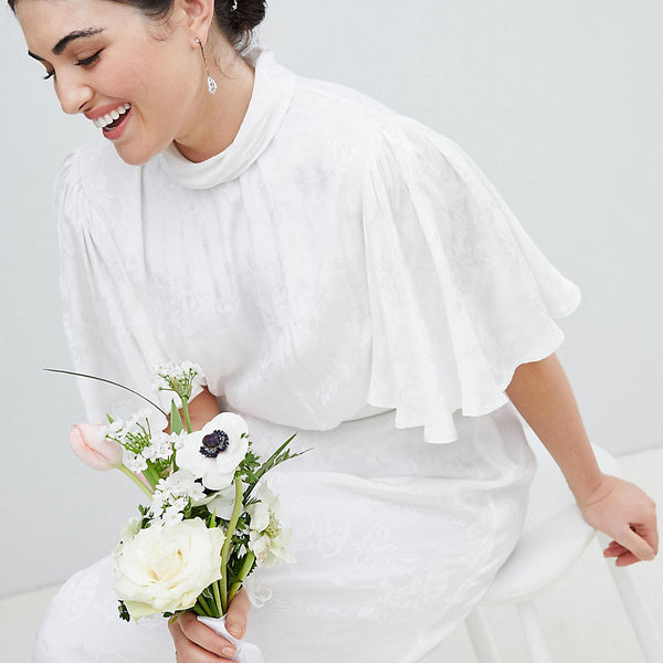 ASOS Edition Curve Wedding Dress in soft jacquard with flutter sleeve - White
