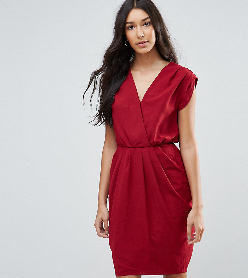 Y.A.S Tall Amber Wrap Front Drape Detail Dress - Red